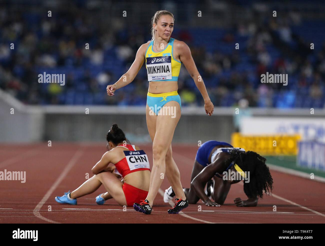 YOKOHAMA, JAPAN - MAY 10: Elina Mikhina of Kazakhstan after the mixed 4x400m relay during Day 1 of the 2019 IAAF World Relay Championships at the Nissan Stadium on Saturday May 11, 2019 in Yokohama, Japan. (Photo by Roger Sedres for the IAAF) - Stock Image