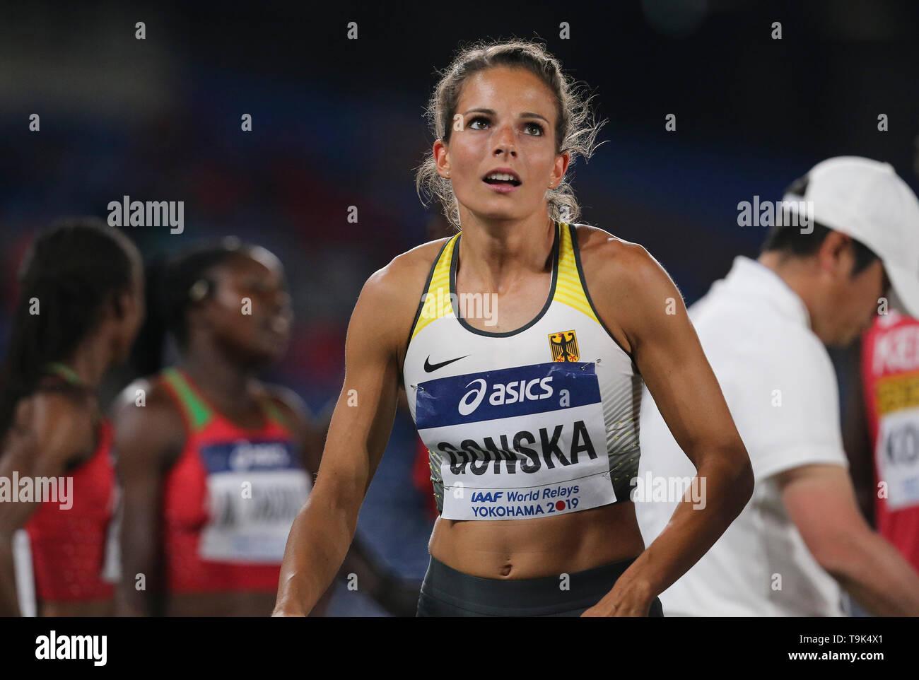 YOKOHAMA, JAPAN - MAY 10: Nadine Gonska of Germany during Day 1 of the 2019 IAAF World Relay Championships at the Nissan Stadium on Saturday May 11, 2019 in Yokohama, Japan. (Photo by Roger Sedres for the IAAF) - Stock Image