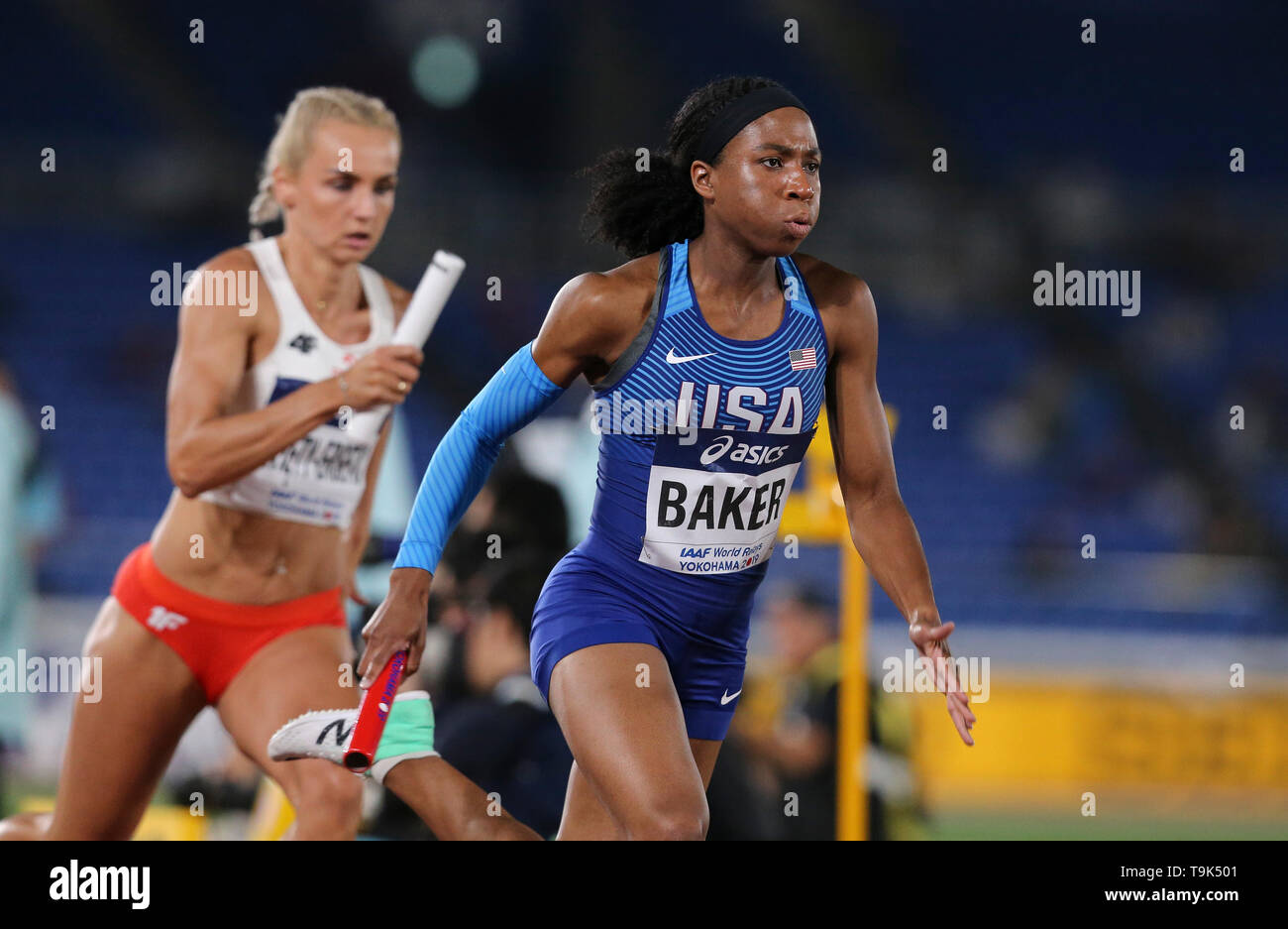 YOKOHAMA, JAPAN - MAY 10: Olivia Baker of the USA in the mixed 4x400m relay during Day 1 of the 2019 IAAF World Relay Championships at the Nissan Stadium on Saturday May 11, 2019 in Yokohama, Japan. (Photo by Roger Sedres for the IAAF) - Stock Image