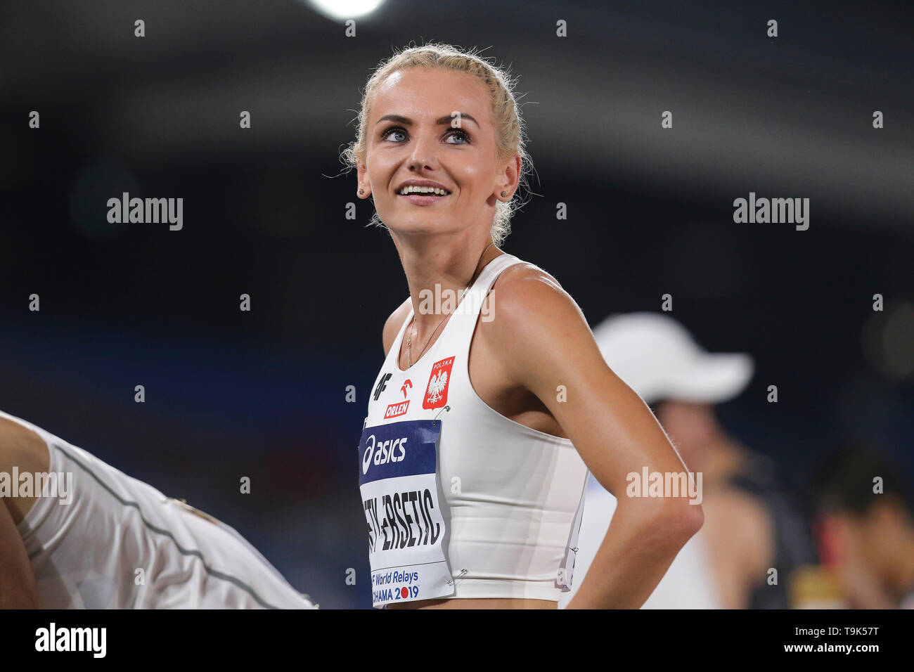 YOKOHAMA, JAPAN - MAY 10: Justyna Swiety-Ersetic of Polandafter the mixed 4x400m relay during Day 1 of the 2019 IAAF World Relay Championships at the Nissan Stadium on Saturday May 11, 2019 in Yokohama, Japan. (Photo by Roger Sedres for the IAAF) - Stock Image