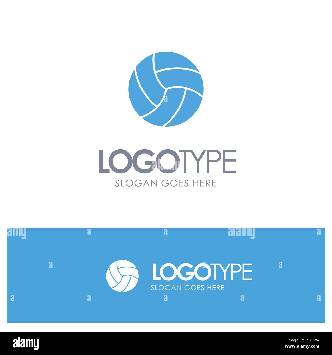 Ball, Volley, Volleyball, Sport Blue Solid Logo with place for tagline - Stock Image