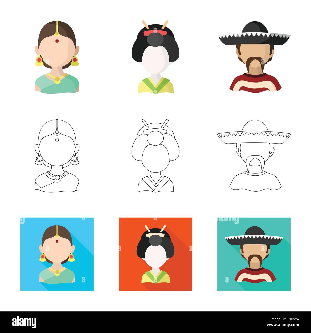 Vector illustration of imitator and resident icon. Collection of imitator and culture stock vector illustration. - Stock Image