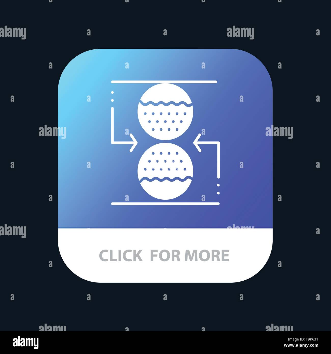 Concentration, Control, Effective, Sand clock Mobile App Button. Android and IOS Glyph Version - Stock Image