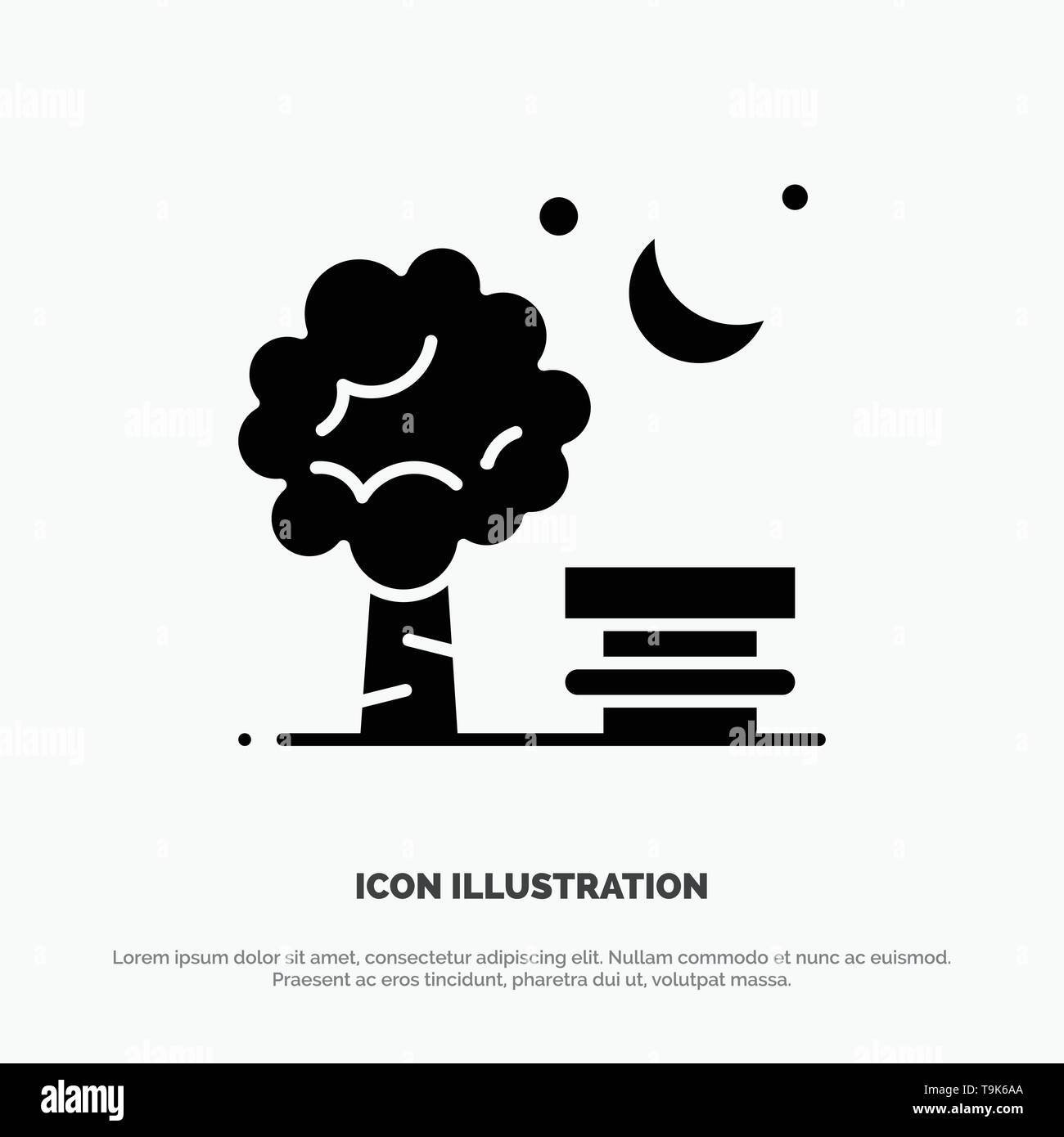 Bench, Chair, Park, Spring, Balloon solid Glyph Icon vector - Stock Image