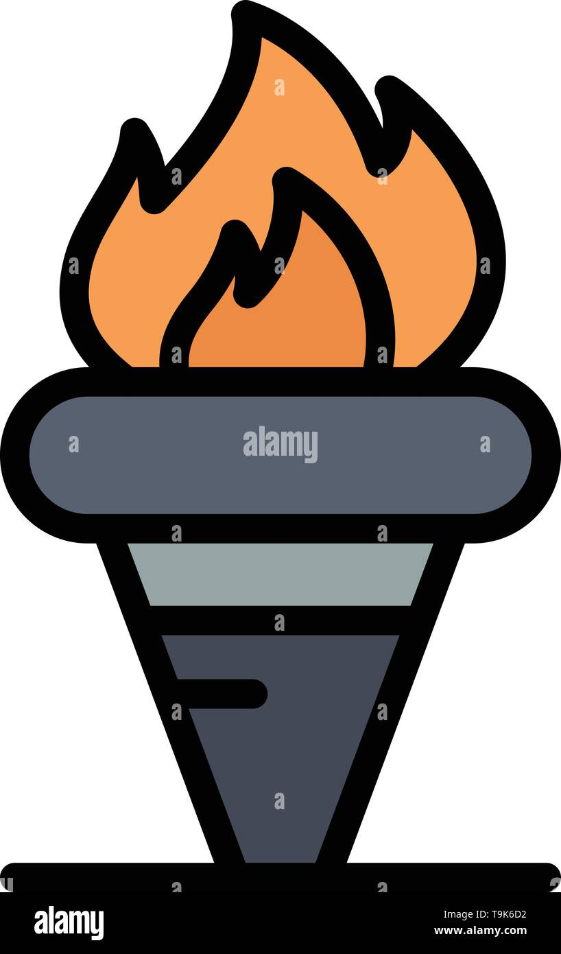 Flame, Games, Greece, Holding, Olympic Business Logo Template. Flat Color - Stock Image