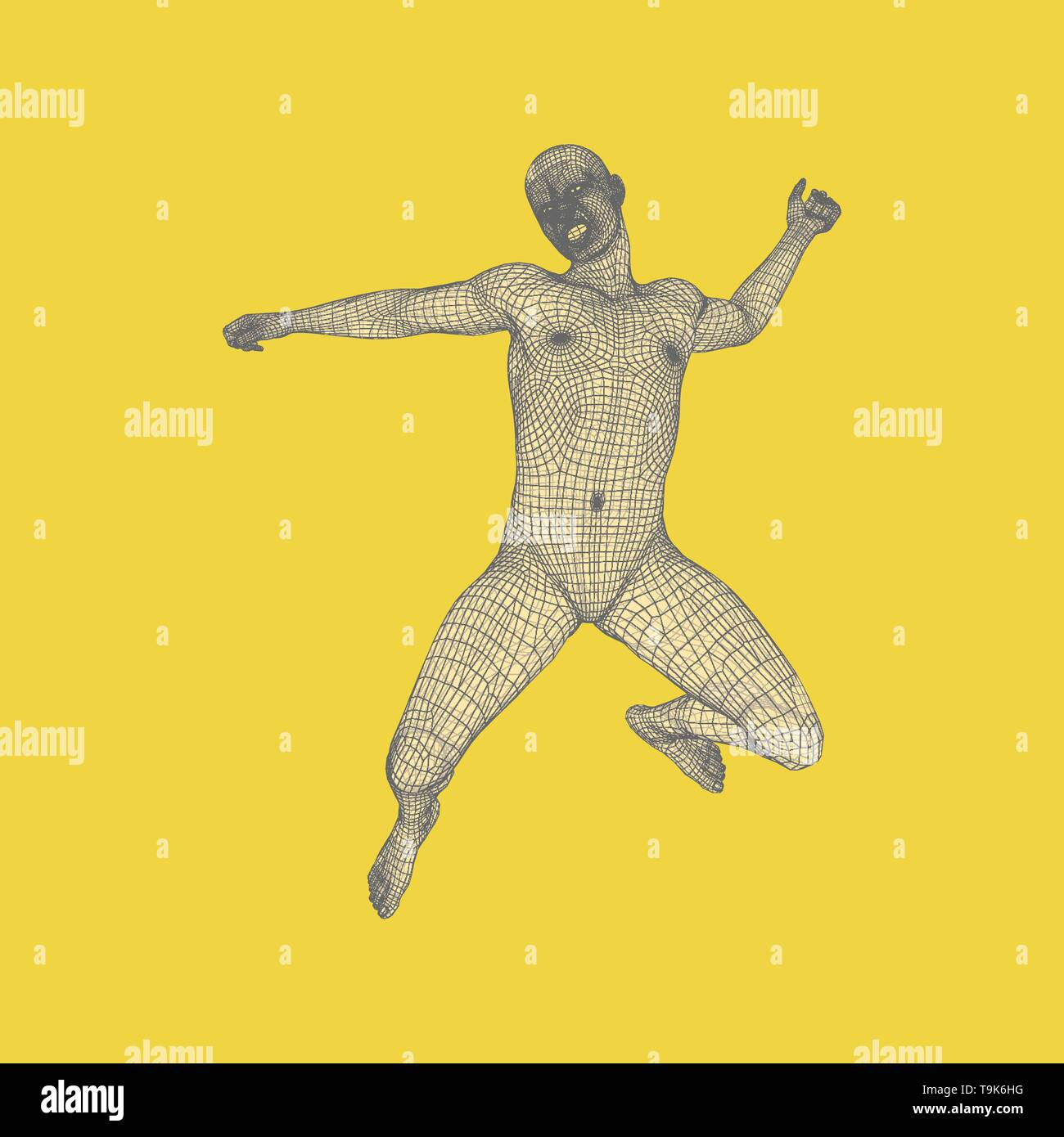 Business, Freedom or Happiness Concept. 3D Model of Man. Human Body Model. Vector Illustration. - Stock Image
