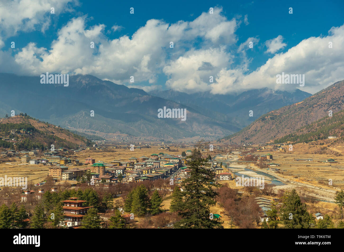 Cloudy Paro valley as seen from the Rinpung Dzong - Stock Image