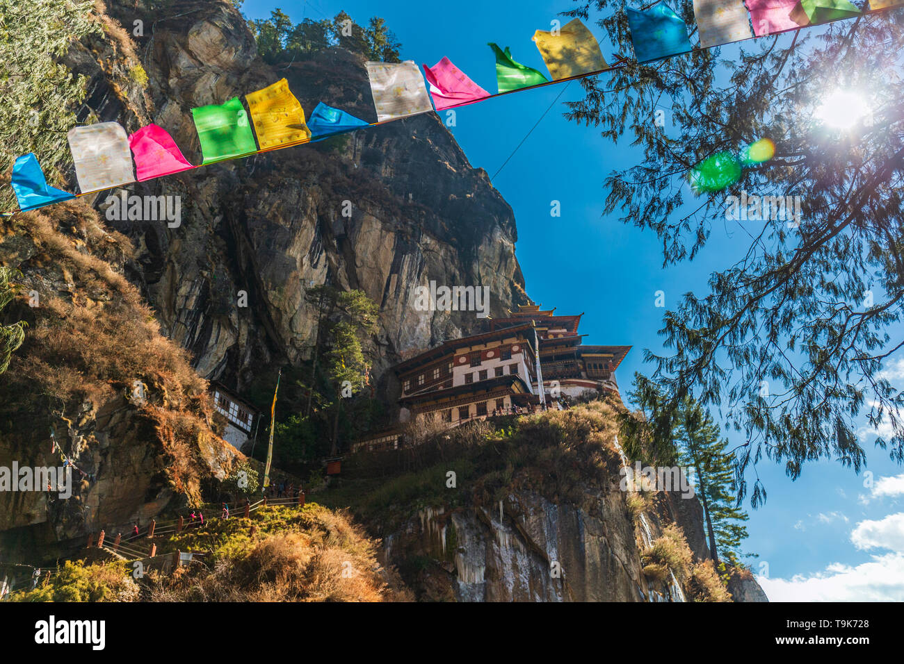 Prayer flags and Tiger's Nest - Stock Image