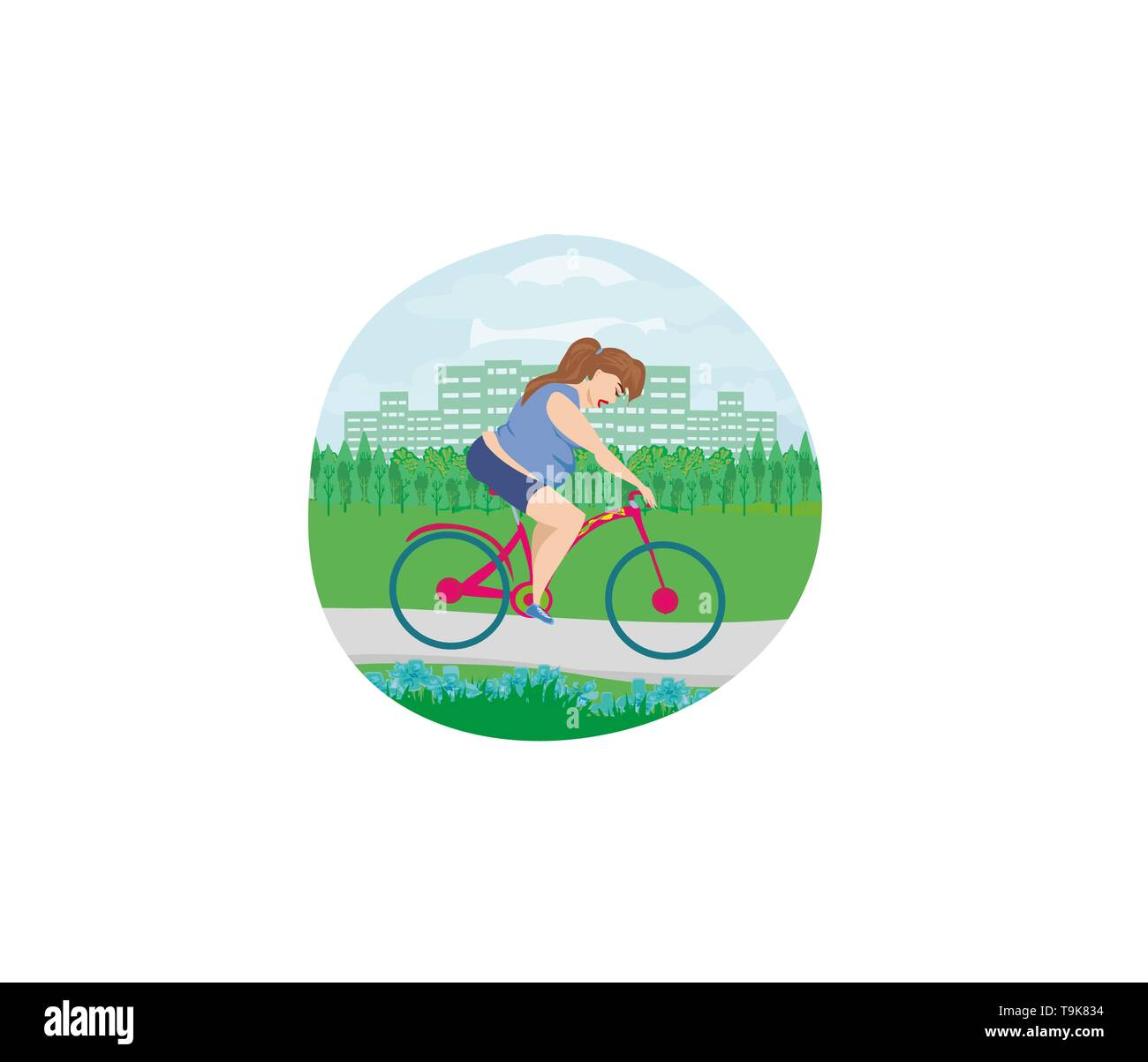 Overweight woman ride on bike - Stock Image