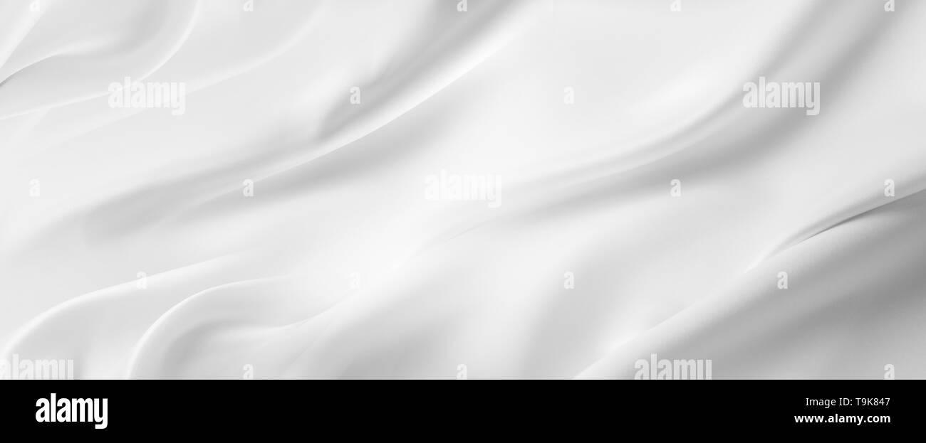 Closeup of rippled white silk fabric lines - Stock Image