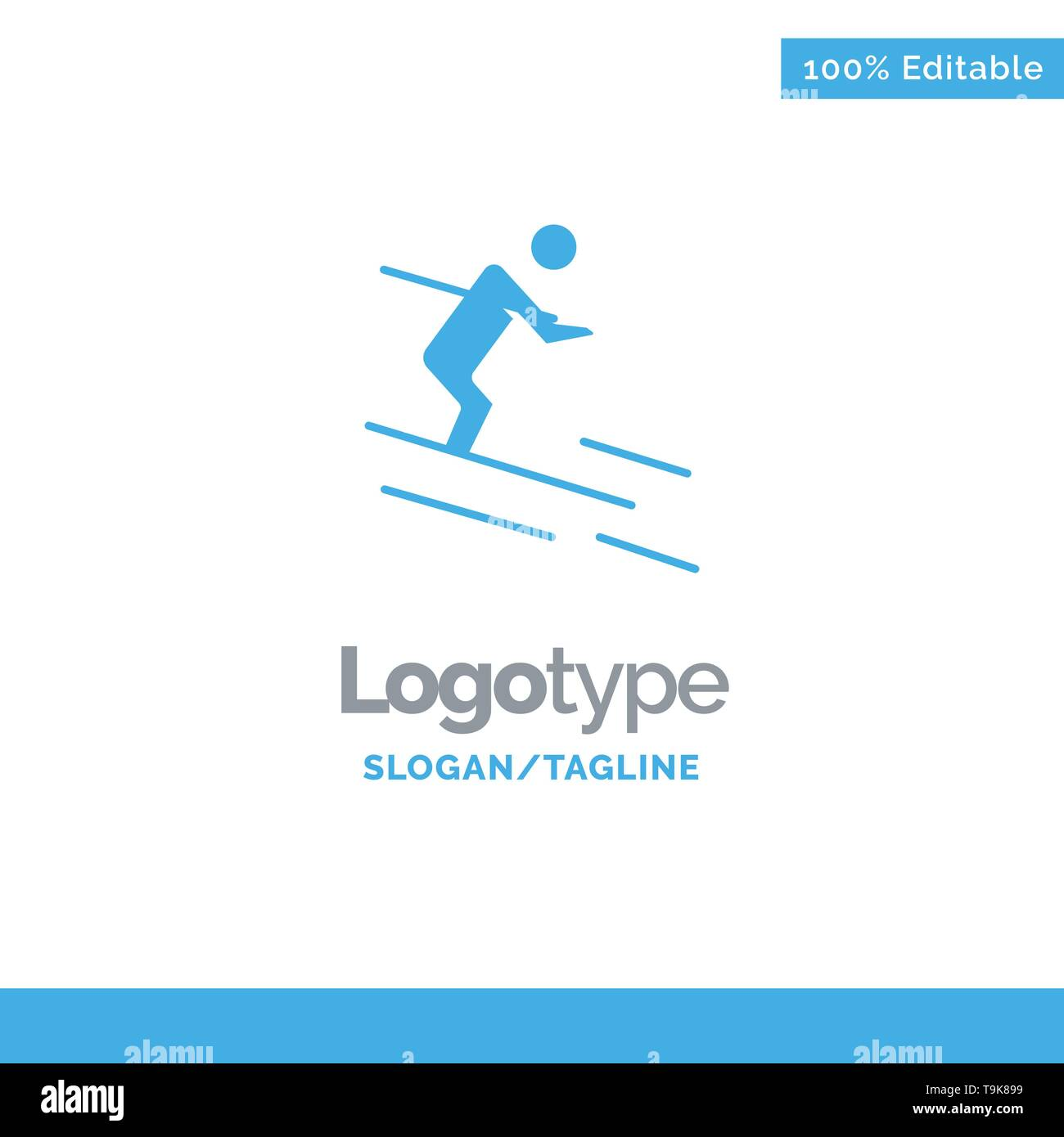 Activity, Ski, Skiing, Sportsman Blue Solid Logo Template. Place for Tagline - Stock Image