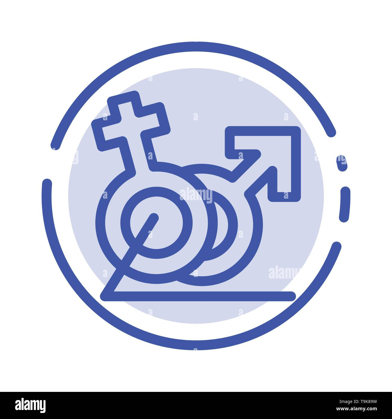 Men, Women, Sign, Gander, Identity Blue Dotted Line Line Icon - Stock Image