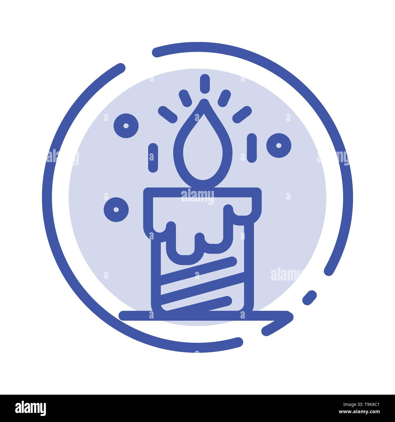 Candle, Light, Wedding, Love Blue Dotted Line Line Icon - Stock Image