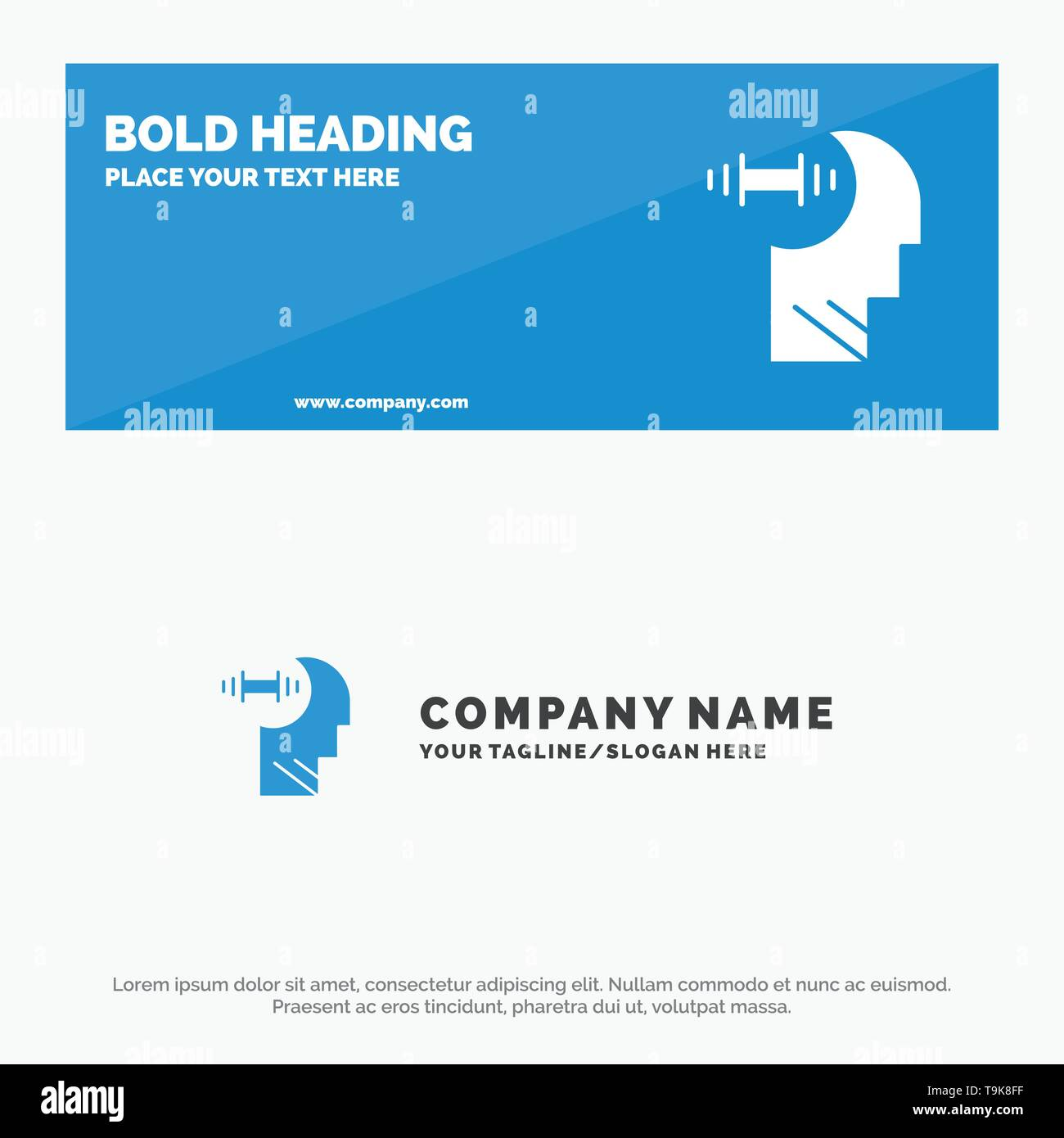 Training, Brian, Dumbbell, Head SOlid Icon Website Banner and Business Logo Template - Stock Image