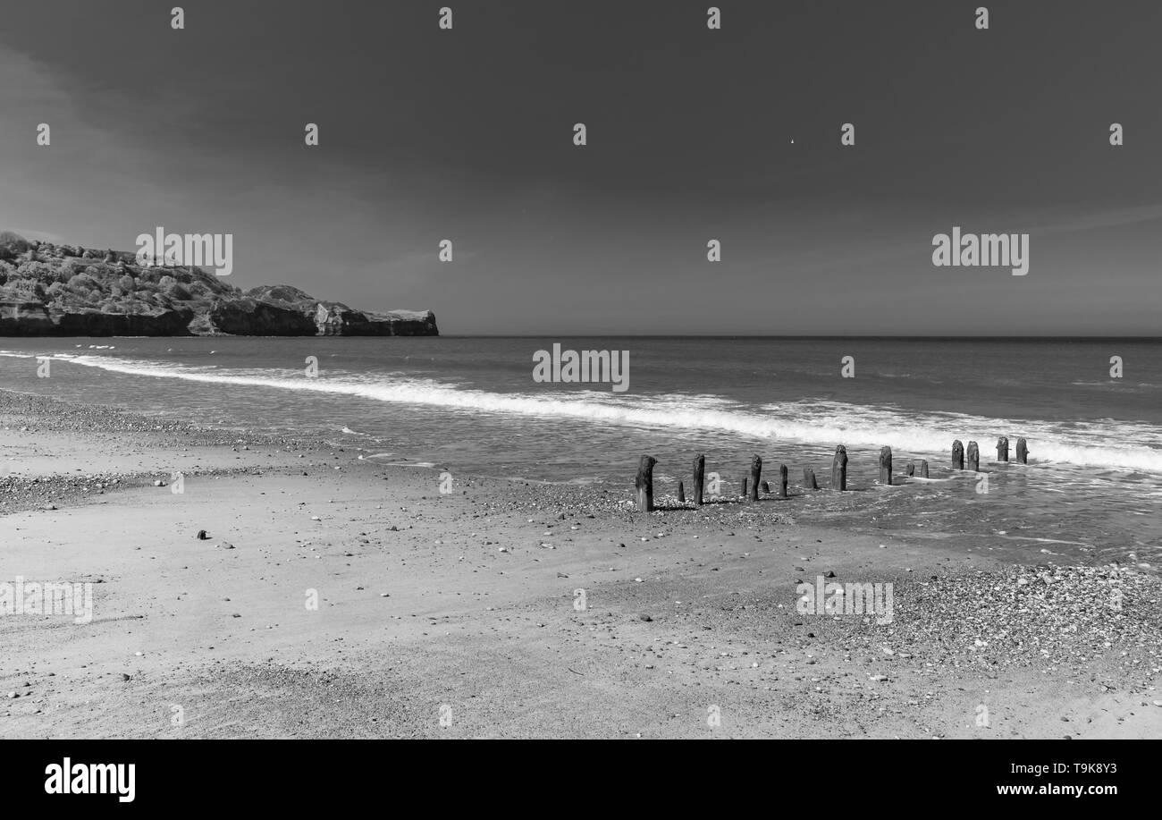 Sandsend near Whitby. Old wooden breakwater posts lead down from the beach into the sea and a headland is in the distance. A dark sky is above. - Stock Image