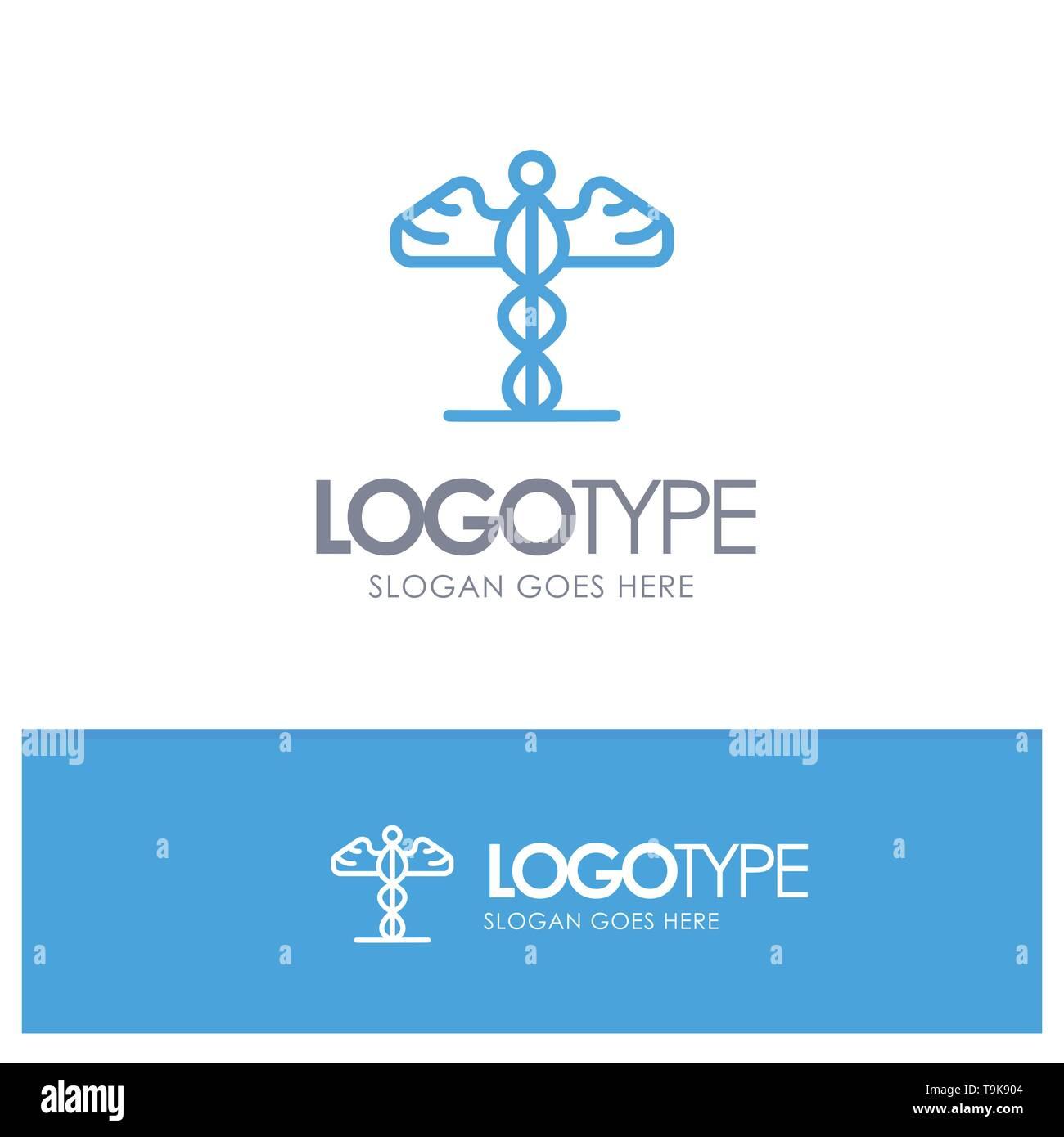 Medicine, Medical, Healthcare, Greece Blue Outline Logo Place for Tagline - Stock Image