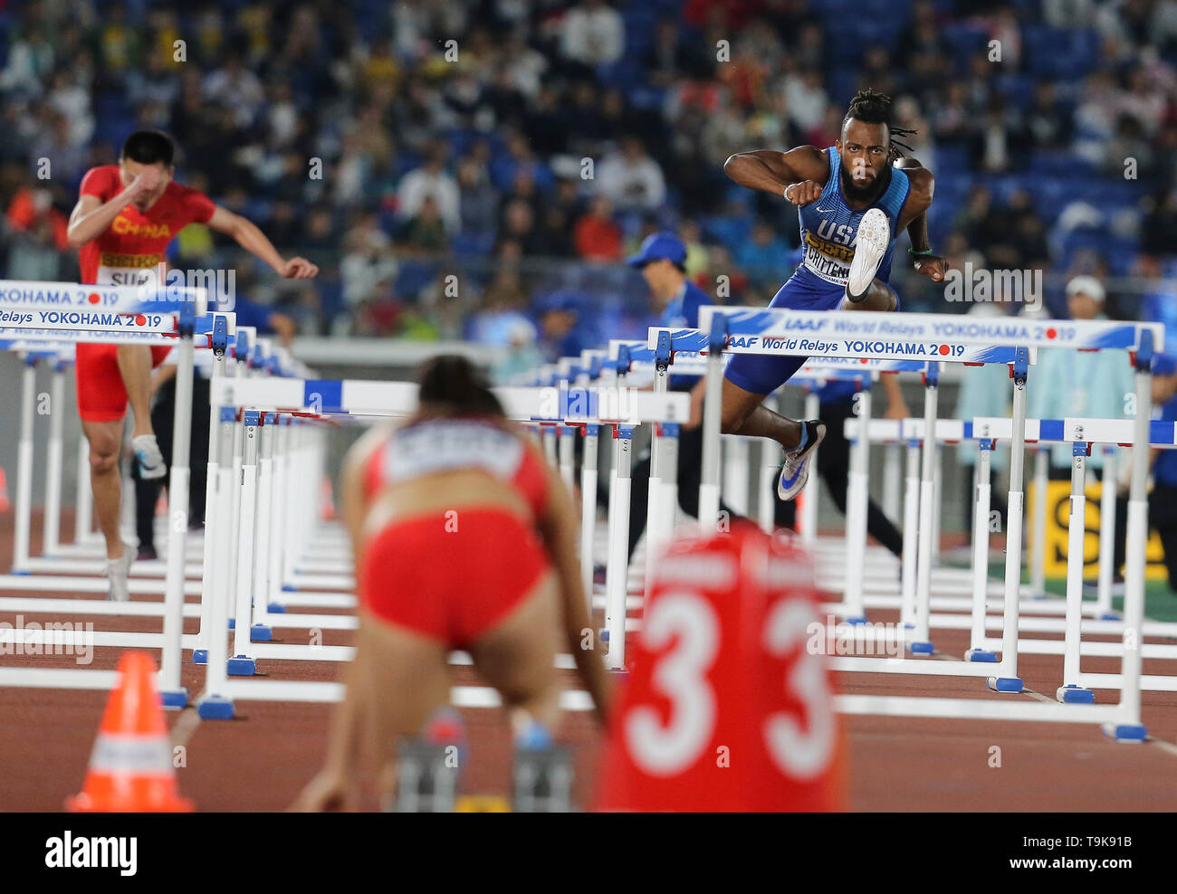 YOKOHAMA, JAPAN - MAY 10:  during Day 1 of the 2019 IAAF World Relay Championships at the Nissan Stadium on Saturday May 11, 2019 in Yokohama, Japan. (Photo by Roger Sedres for the IAAF) - Stock Image