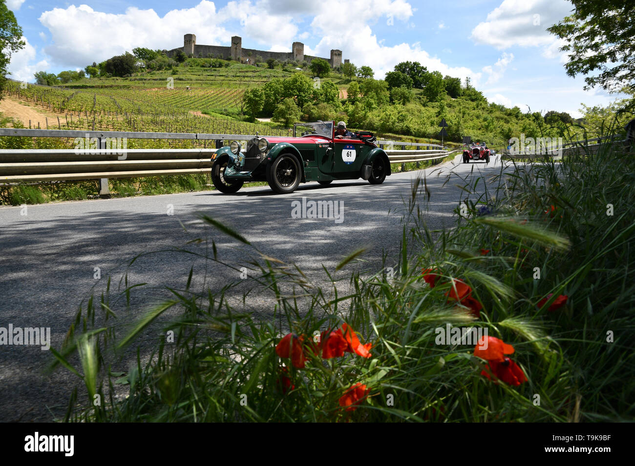 Tuscany, Italy - May 2019: unidentified drivers on ALFA ROMEO 6C 1750 SS YOUNG 1929 during public event of historical parade of the Mille Miglia and t - Stock Image