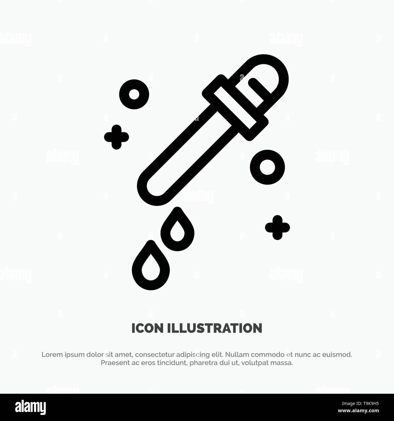 Dropper, Pipette, Science Line Icon Vector - Stock Image