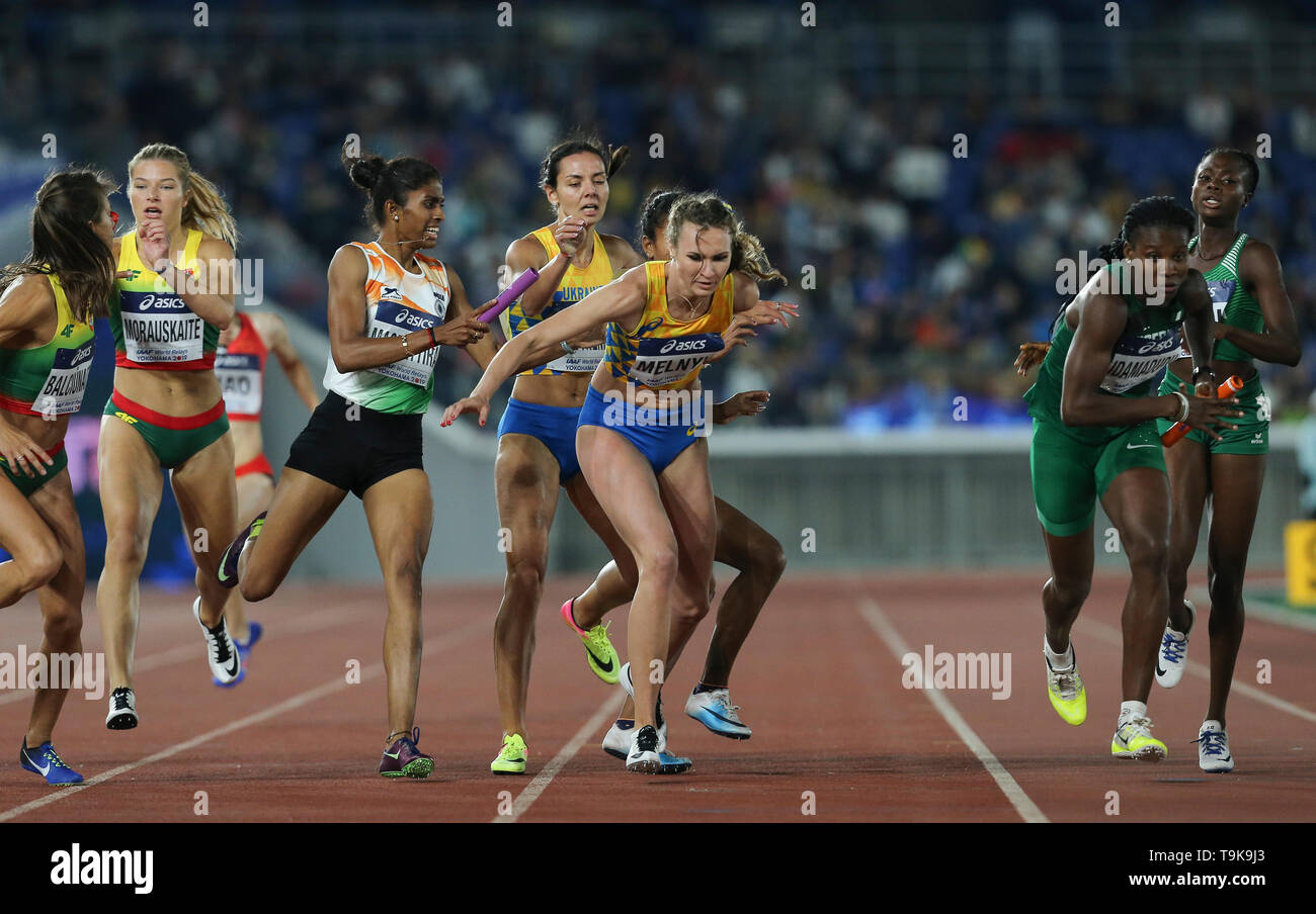 YOKOHAMA, JAPAN - MAY 10: Tetyana Melnyk of Ukraine during Day 1 of the 2019 IAAF World Relay Championships at the Nissan Stadium on Saturday May 11, 2019 in Yokohama, Japan. (Photo by Roger Sedres for the IAAF) - Stock Image