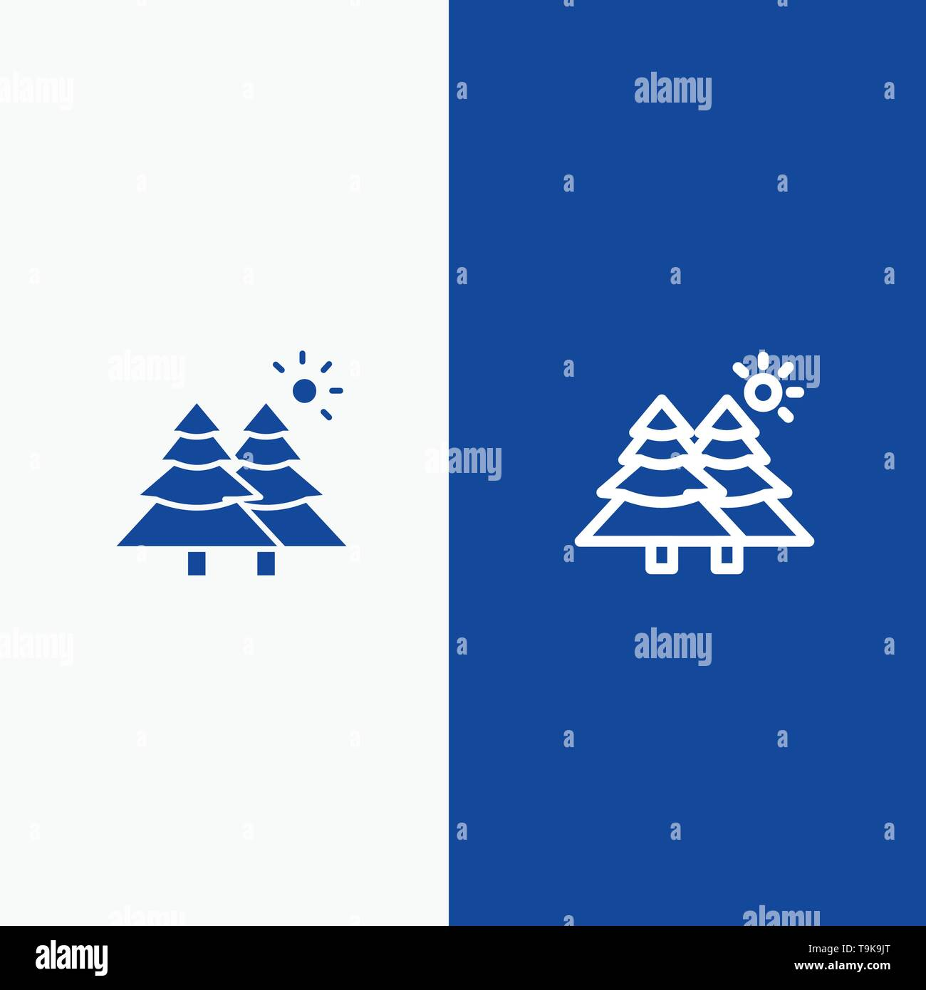 Fir, Forest, Nature, Trees Line and Glyph Solid icon Blue banner - Stock Image