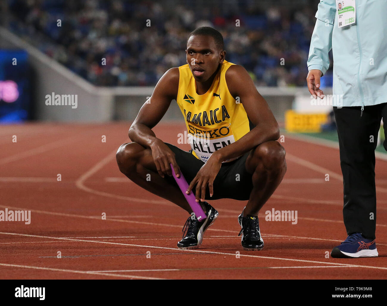 YOKOHAMA, JAPAN - MAY 10: Nathon Allen of Jamaica during Day 1 of the 2019 IAAF World Relay Championships at the Nissan Stadium on Saturday May 11, 2019 in Yokohama, Japan. (Photo by Roger Sedres for the IAAF) - Stock Image