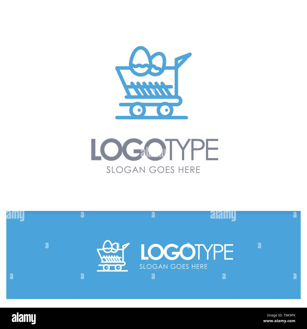 Cart, Trolley, Easter, Shopping Blue Outline Logo Place for Tagline - Stock Image