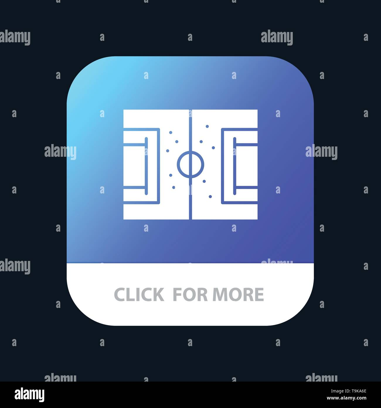 Field, Football, Game, Pitch, Soccer Mobile App Button. Android and IOS Glyph Version - Stock Image