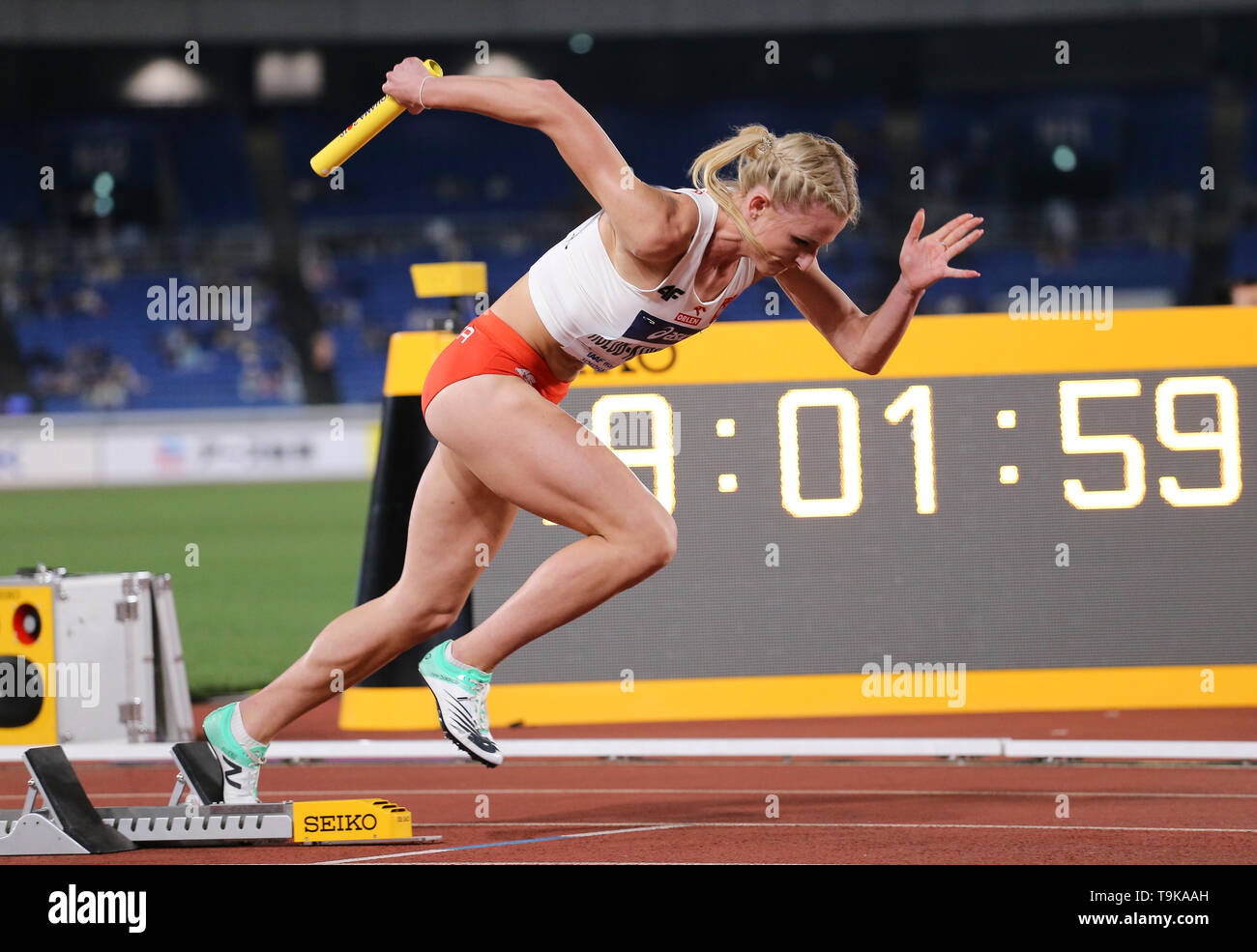 YOKOHAMA, JAPAN - MAY 10: Matgorzata Holub-Kowalik of Poland during Day 1 of the 2019 IAAF World Relay Championships at the Nissan Stadium on Saturday May 11, 2019 in Yokohama, Japan. (Photo by Roger Sedres for the IAAF) - Stock Image