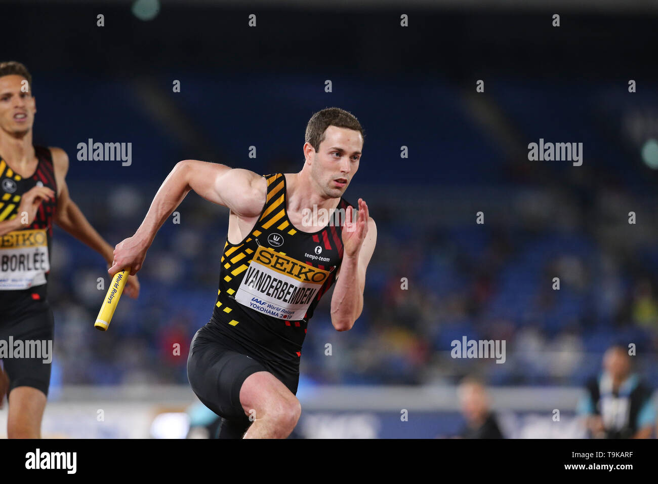 YOKOHAMA, JAPAN - MAY 10: Robin Vanderbemden of Belgium during Day 1 of the 2019 IAAF World Relay Championships at the Nissan Stadium on Saturday May 11, 2019 in Yokohama, Japan. (Photo by Roger Sedres for the IAAF) - Stock Image