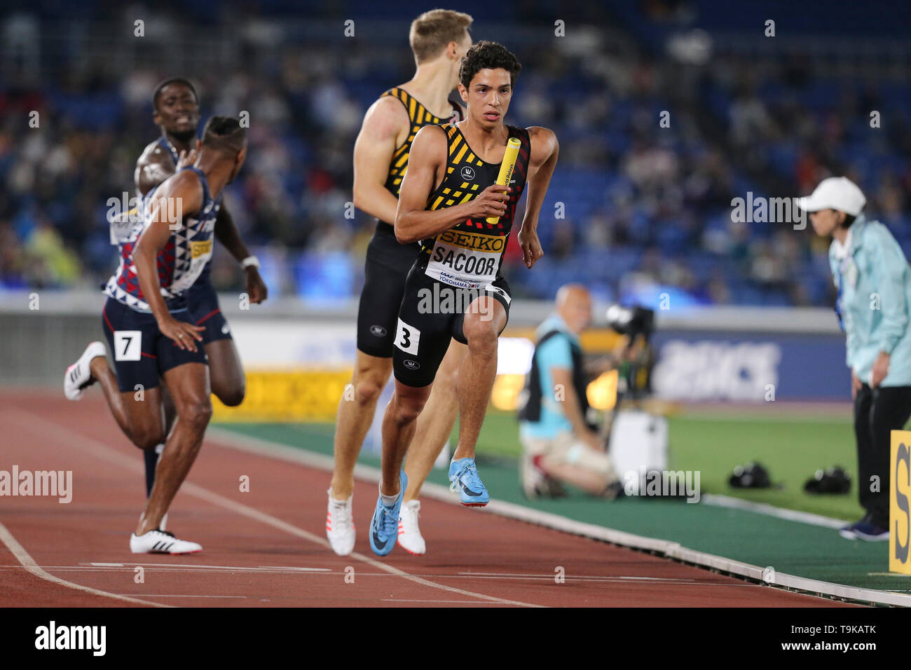 YOKOHAMA, JAPAN - MAY 10: Jonathan Sacoor of Belgium during Day 1 of the 2019 IAAF World Relay Championships at the Nissan Stadium on Saturday May 11, 2019 in Yokohama, Japan. (Photo by Roger Sedres for the IAAF) - Stock Image