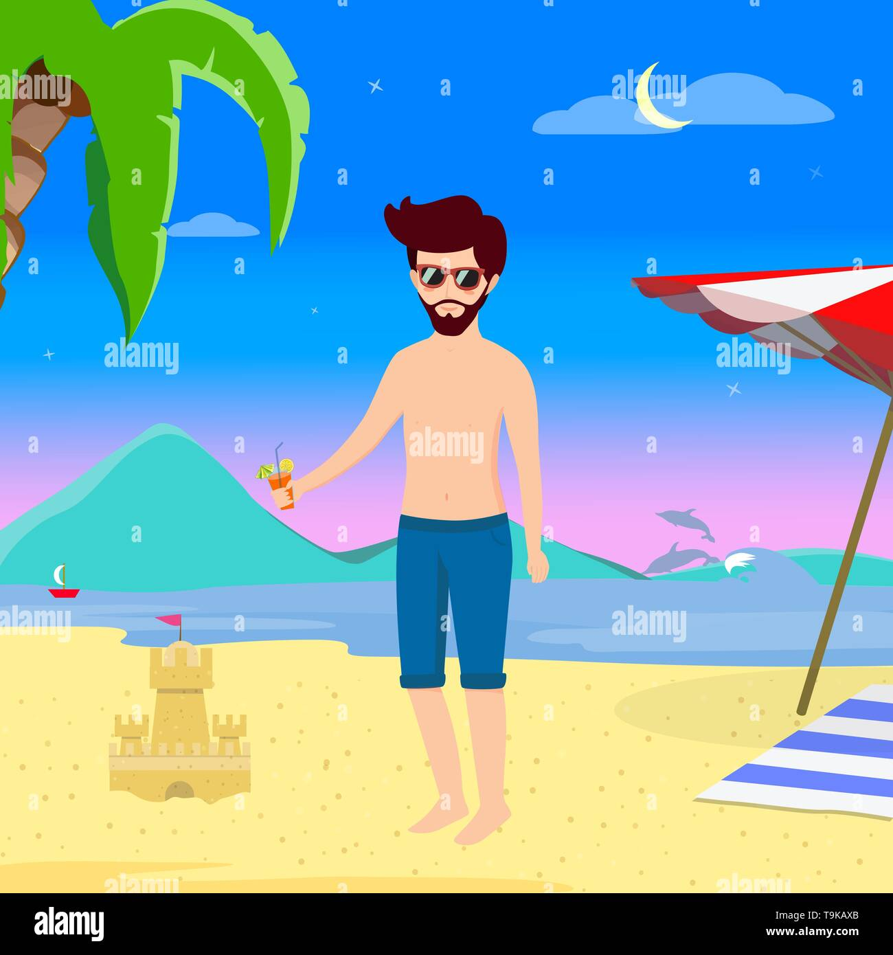 Man on Beach Summer Vacation Night Life. Young Handsome Hipster in Swimsuit Drink Cocktail on Summer Sandy Sea Beach Background with Dolphins, Sand Ca - Stock Vector