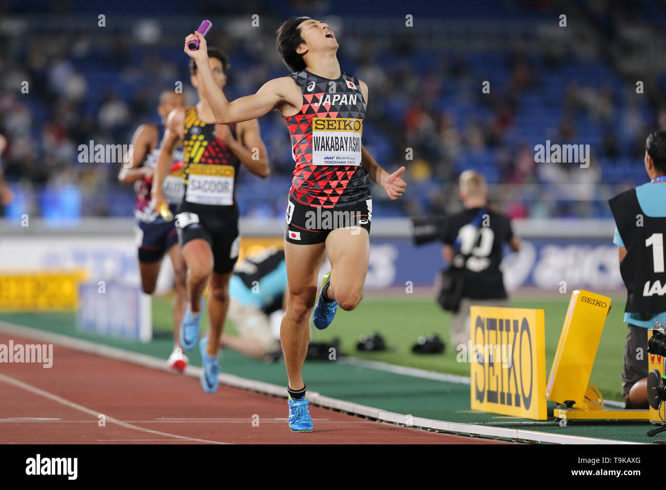 YOKOHAMA, JAPAN - MAY 10: Kota Wakabayashi of Japan during Day 1 of the 2019 IAAF World Relay Championships at the Nissan Stadium on Saturday May 11, 2019 in Yokohama, Japan. (Photo by Roger Sedres for the IAAF) - Stock Image