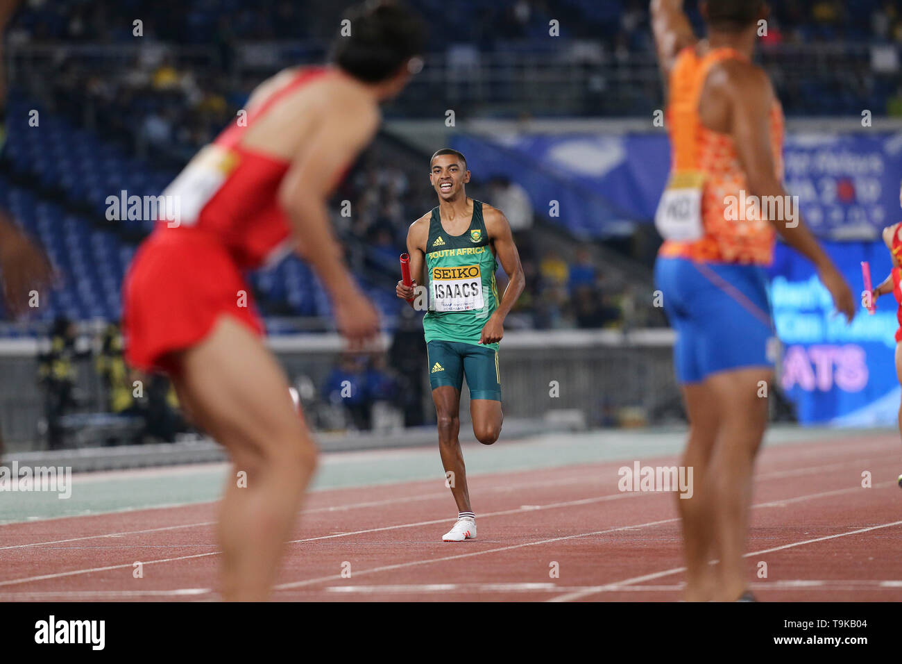 YOKOHAMA, JAPAN - MAY 10: Gardeo Isaacs of South Africa during Day 1 of the 2019 IAAF World Relay Championships at the Nissan Stadium on Saturday May 11, 2019 in Yokohama, Japan. (Photo by Roger Sedres for the IAAF) - Stock Image