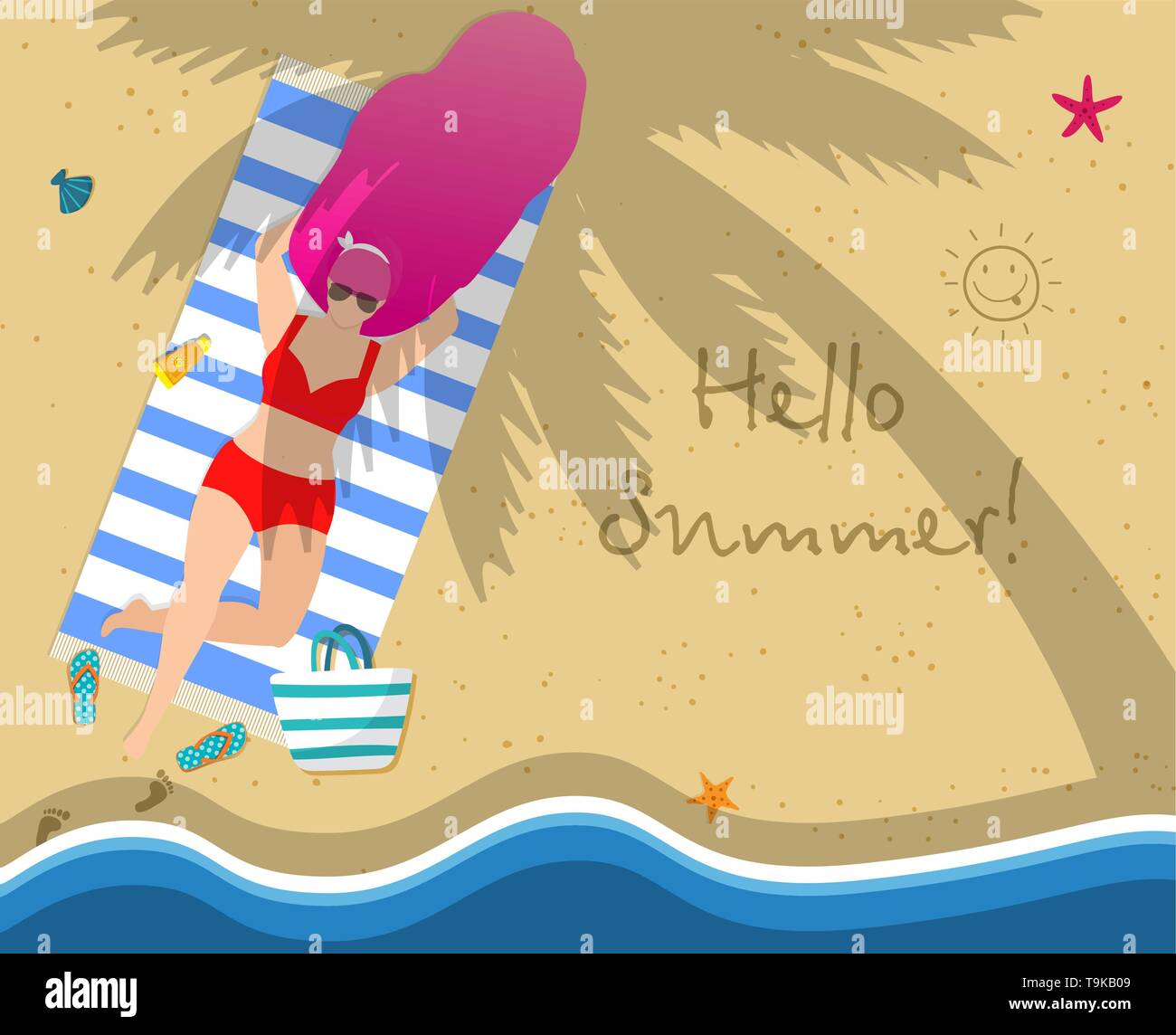 Woman on Beach. Girl in Red Swimwear Relaxing Lying on Towel at Seaside under Palm Tree. Hello Summer Typography, Leisure, Tanning, Sparetime Relaxati - Stock Vector