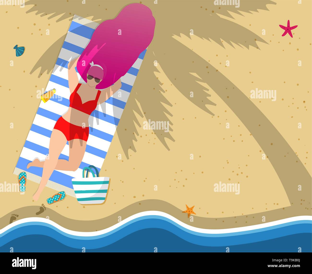 Woman Relaxing on Beach. Girl in Red Swimwear Lying on Towel at Seaside under Palm Tree. Hello Summer Typography, Leisure, Tanning, Sparetime Relaxati - Stock Vector