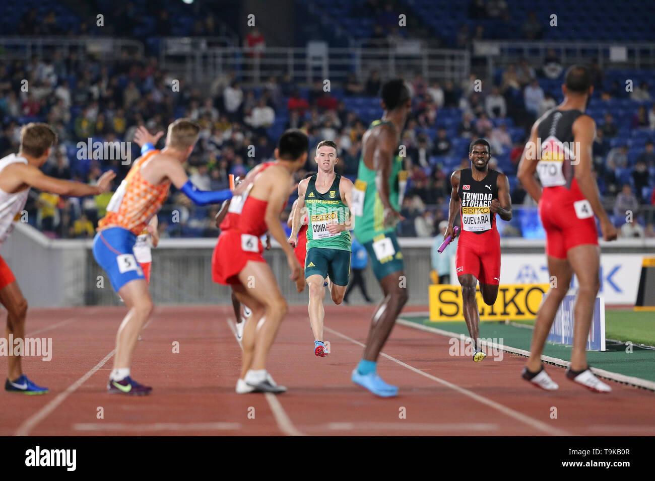 YOKOHAMA, JAPAN - MAY 10: Pieter Conradie of South Africa during Day 1 of the 2019 IAAF World Relay Championships at the Nissan Stadium on Saturday May 11, 2019 in Yokohama, Japan. (Photo by Roger Sedres for the IAAF) - Stock Image