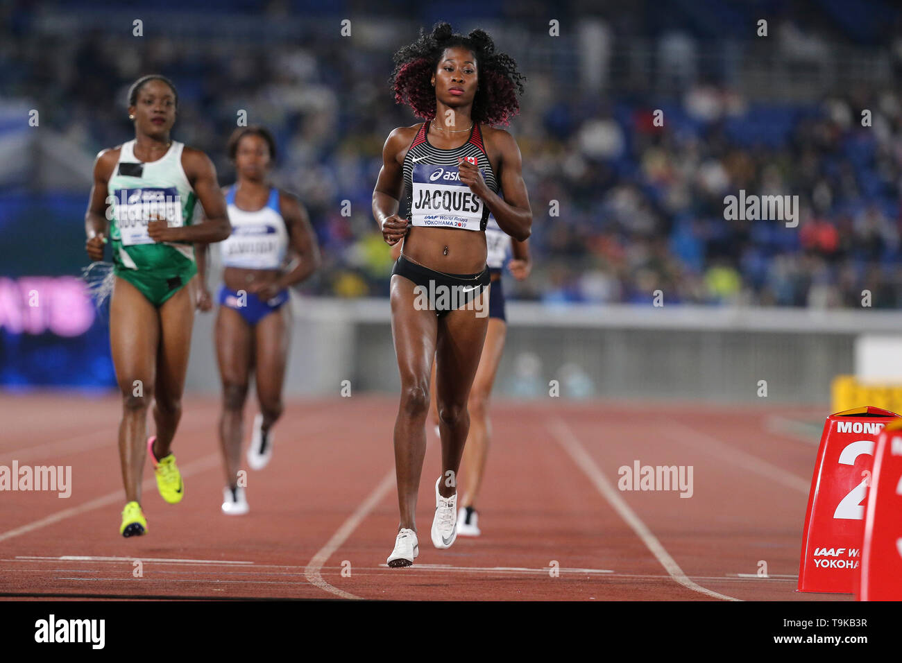 YOKOHAMA, JAPAN - MAY 10: Farah Jacques of Canada during Day 1 of the 2019 IAAF World Relay Championships at the Nissan Stadium on Saturday May 11, 2019 in Yokohama, Japan. (Photo by Roger Sedres for the IAAF) - Stock Image