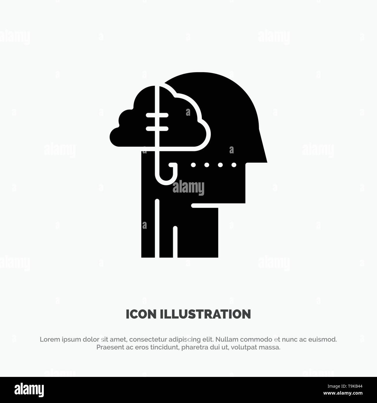 Borrowing Ideas, Addiction, Catch, Habit, Human solid Glyph Icon vector - Stock Image