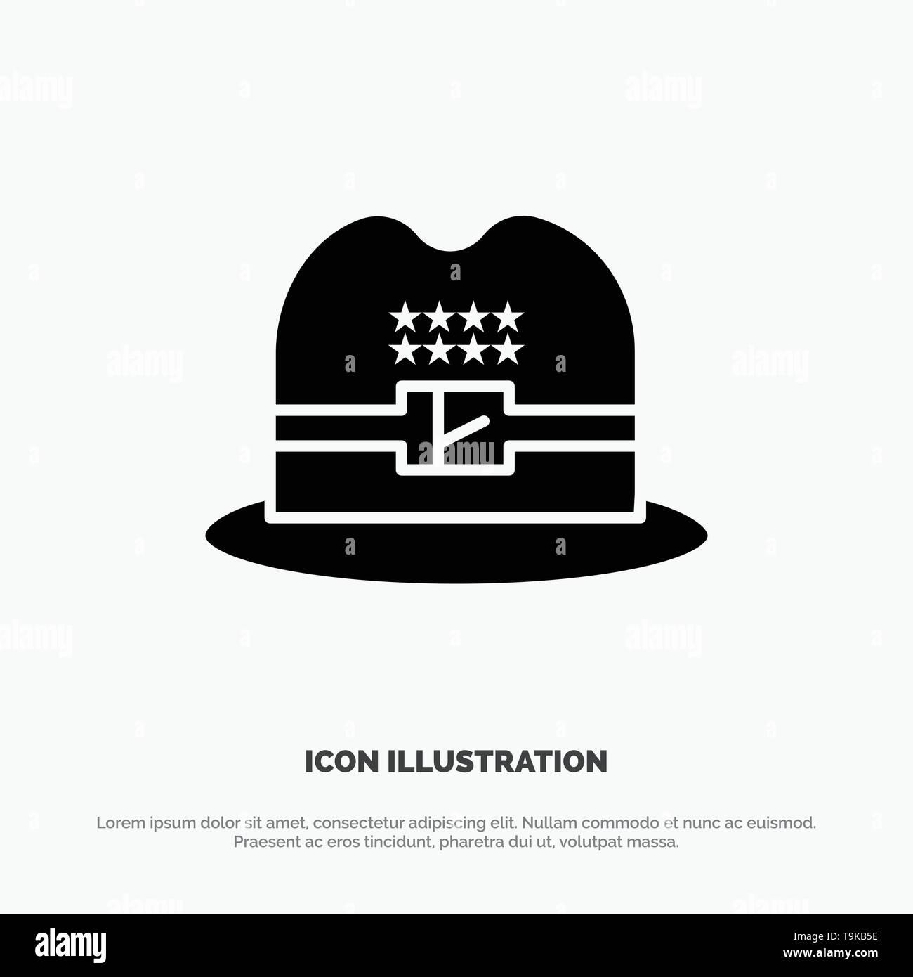 Hat, Cap, American solid Glyph Icon vector - Stock Image