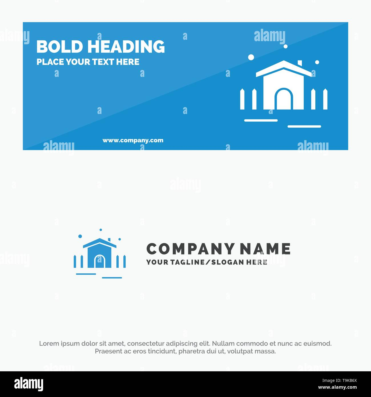 Construction, Garden, Patio, Shelter SOlid Icon Website Banner and Business Logo Template - Stock Image