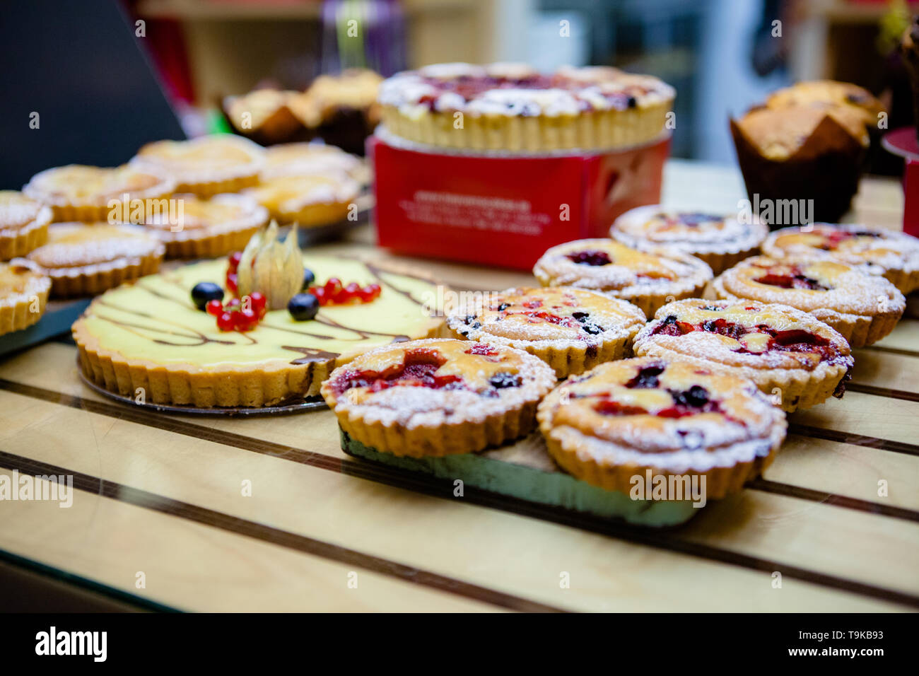 Various Different Types Of Sweet Cakes In Pastry Shop - Stock Image