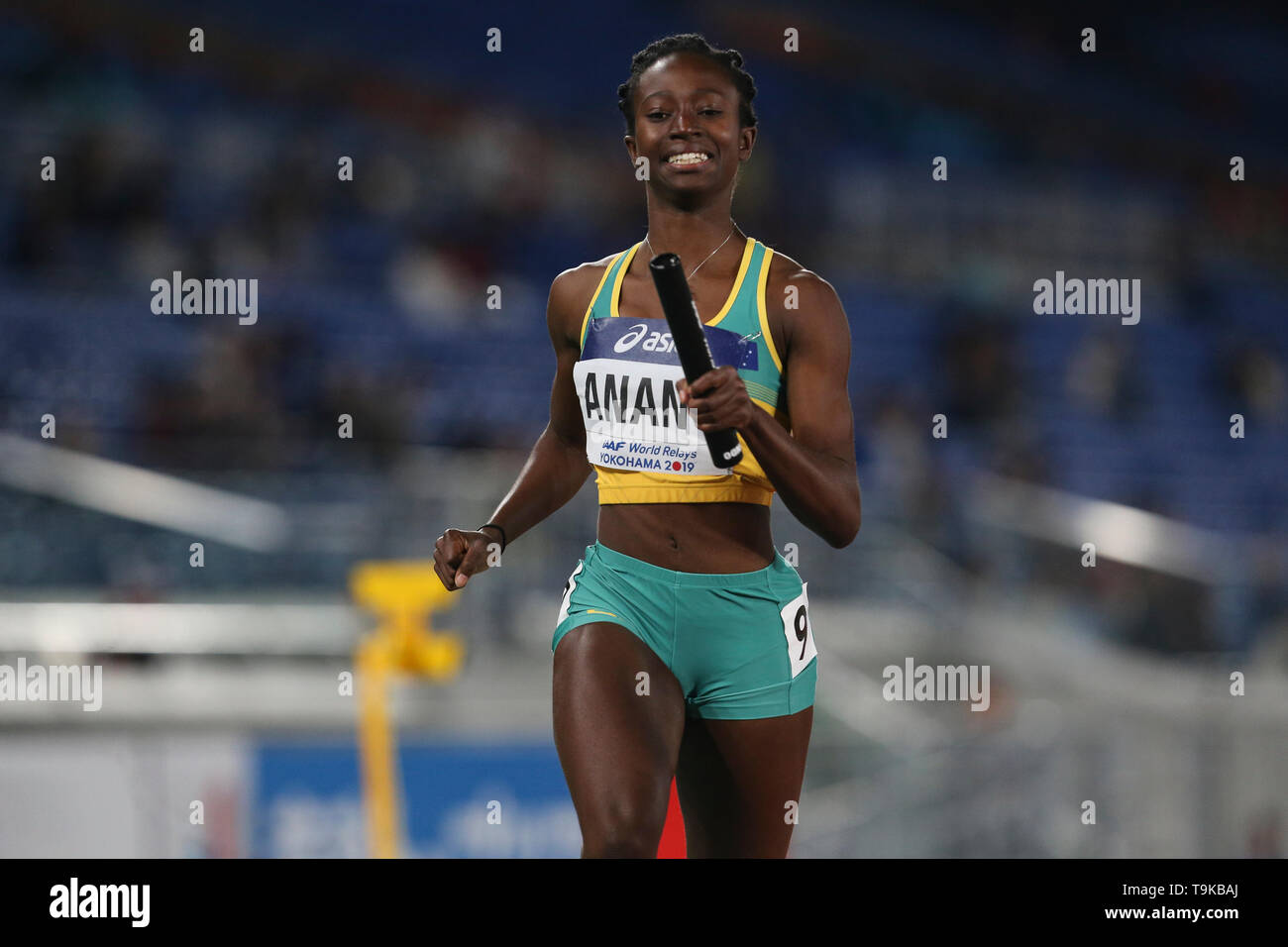 YOKOHAMA, JAPAN - MAY 10: Naa Anang of Australia during Day 1 of the 2019 IAAF World Relay Championships at the Nissan Stadium on Saturday May 11, 2019 in Yokohama, Japan. (Photo by Roger Sedres for the IAAF) - Stock Image