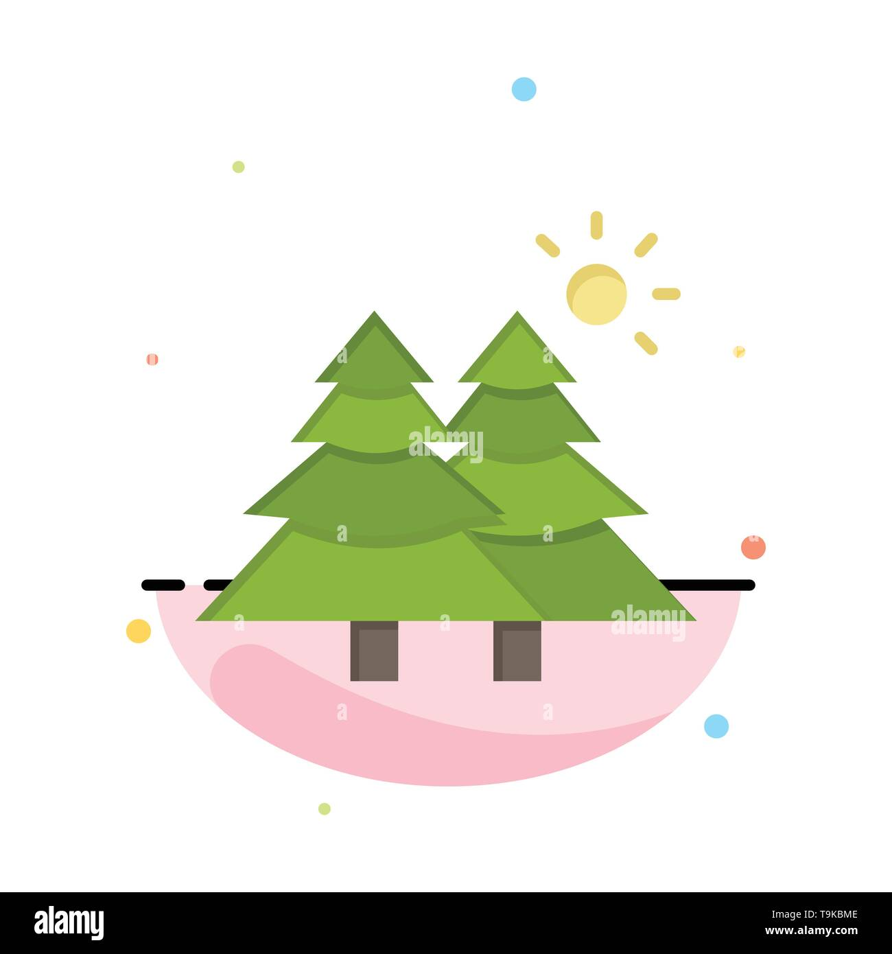 Fir, Forest, Nature, Trees Abstract Flat Color Icon Template - Stock Image