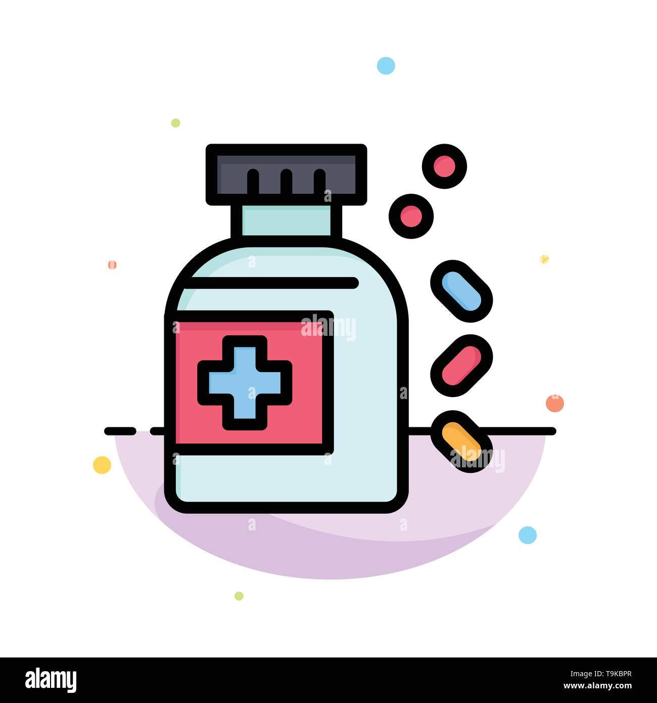 Bottle, Medicine, Tablet Abstract Flat Color Icon Template - Stock Image