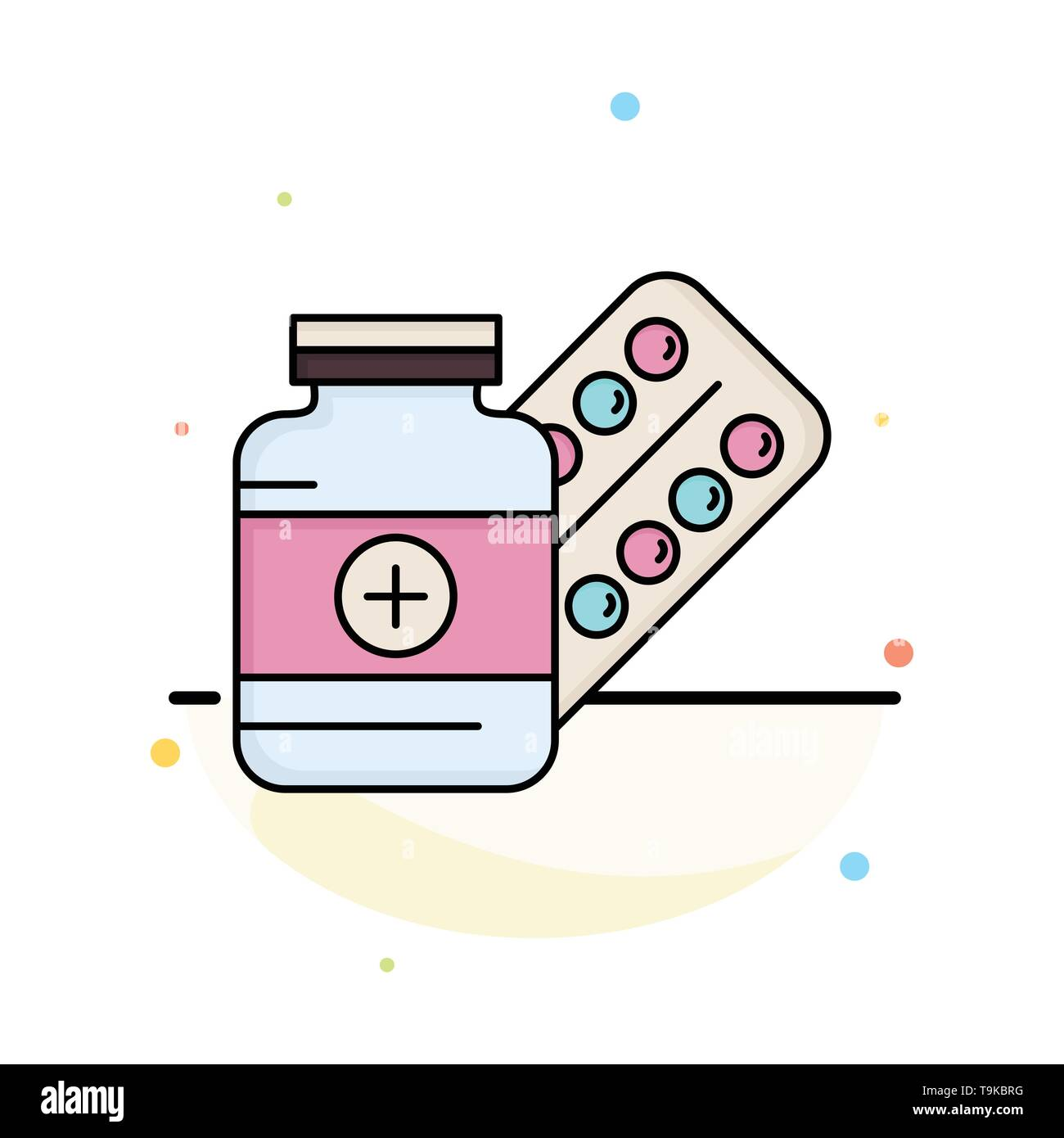 medicine, Pill, capsule, drugs, tablet Flat Color Icon Vector - Stock Image