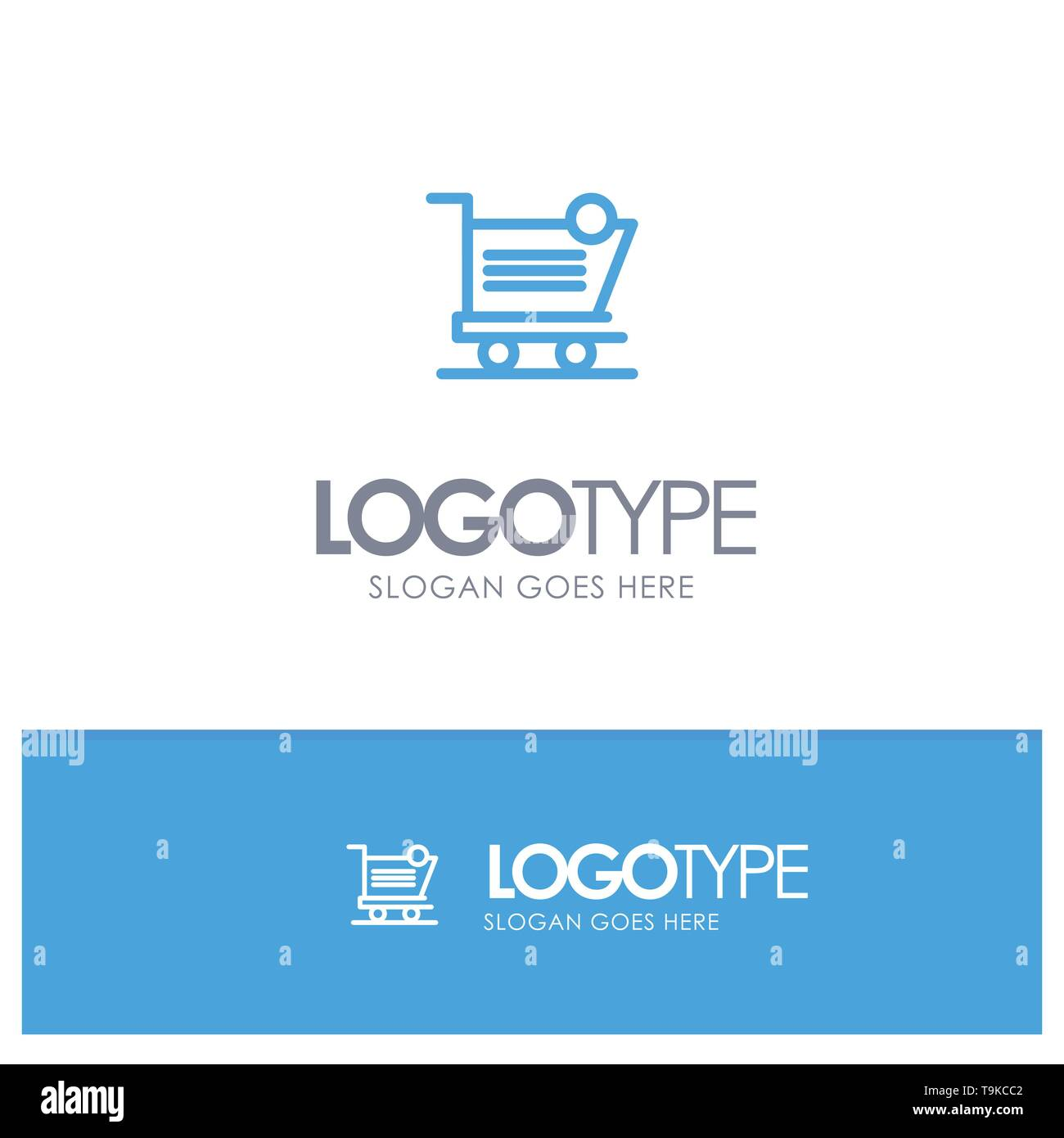 Cart, Shopping, Shipping, Item, Store Blue outLine Logo with place for tagline - Stock Image