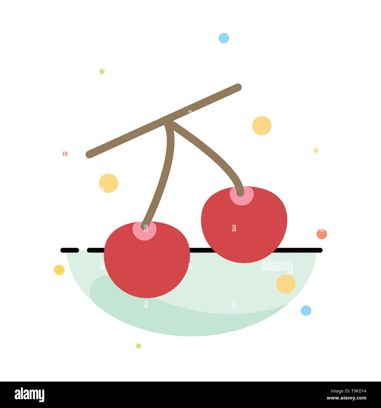 Cherry, Fruit, Healthy, Easter Abstract Flat Color Icon Template - Stock Image