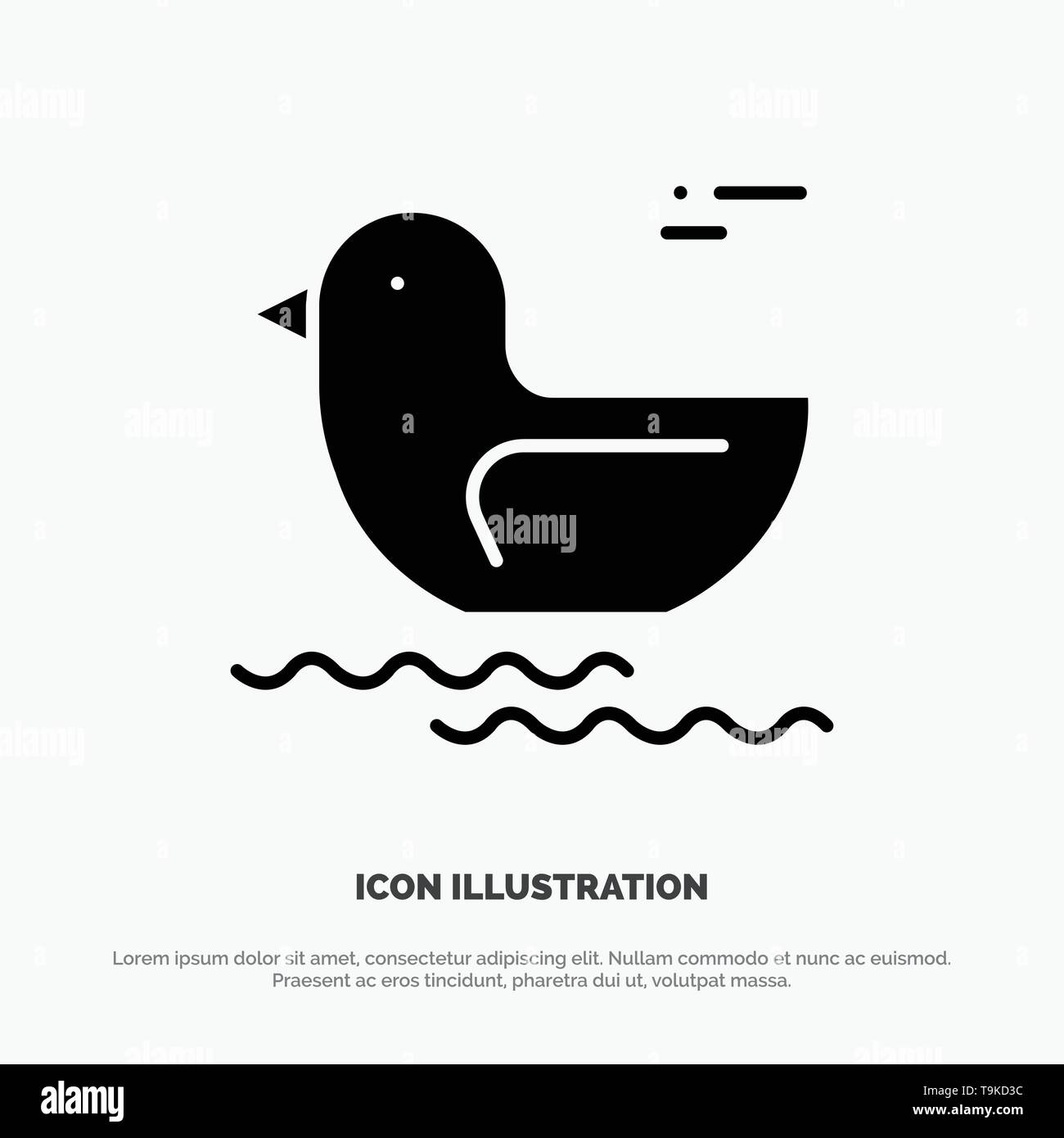 Duck, River, Canada solid Glyph Icon vector - Stock Image
