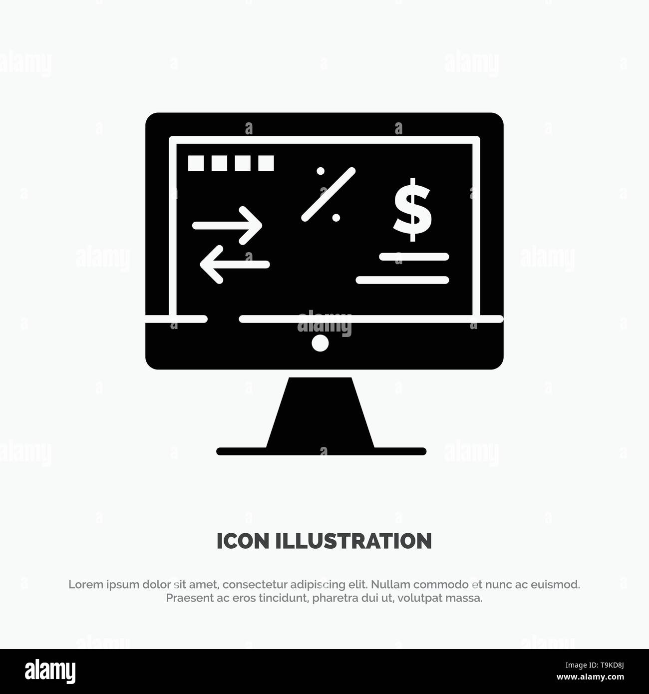 Tax Regulation, Finance, Income, Computer solid Glyph Icon vector - Stock Vector